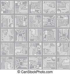 computer, fondo, elettronico, pattern., seamless, circuito, vettore, asse, eps8, tecnologia
