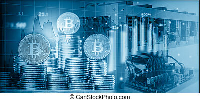Computer for Bitcoin mining and bitcoin coin on a stock market charts