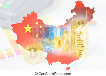 Computer for Bitcoin mining and bitcoin Currency coin on a stock market charts on Flag map of China