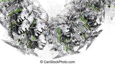computer frembragte image, i, surreal, cyborg, hoveder