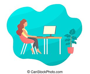 computer., fronte, tavola, sedendo ragazza