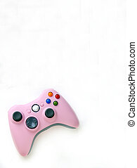 Computer Game Handset - pink games controller on white...