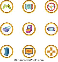 Computer game icon set, cartoon style