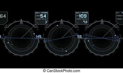 computer game interface, hi-tech software panel, aviation radar GPS navigation screen display, center of target.