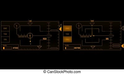 computer game interface, hi-tech software panel, aviation ...