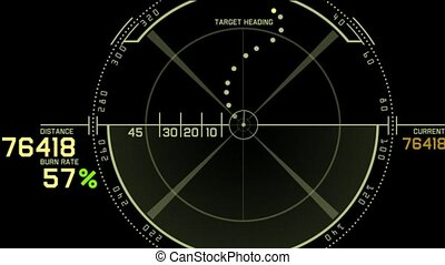 computer game interface, Radar GPS navigation screen display...