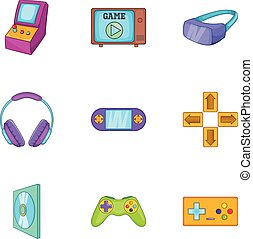 Computer games icons set, cartoon style