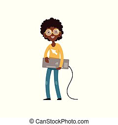 Computer geek character with keyboard in hands. Cartoon black boy with smiling face expression. Kid in sweater, jeans, glasses and braces on teeth. Flat vector design