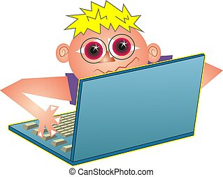Computer Geek - Computer geek playing on laptop.