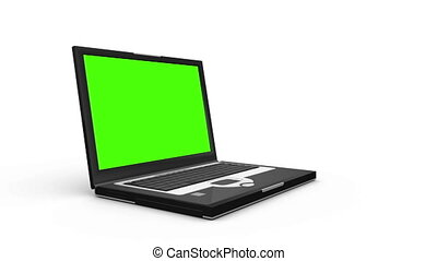 computer, gegen, weißer hintergrund