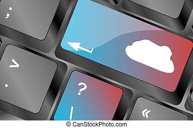 computer, gegevensverwerking, binnengaan, illustratie, keys., vector, klee, toetsenbord, wolk