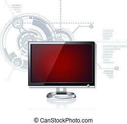 computer, geleide, lcd, plat, monitor