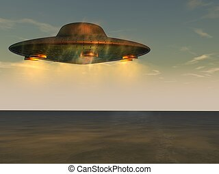 Computer generated 3D illustration of UFO - Unidentified Flying Object on the sky above the sea level. Theme of visit from space, future of technology, scifi. Do not worry, the aliens are good.