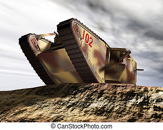 Computer generated 3D illustration with a British Heavy Tank of World War I