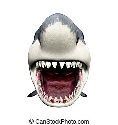 Great White Shark - Computer generated 3D illustration with ...