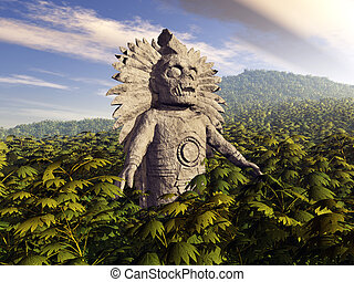 Inca God - Computer generated 3D illustration with a Inca...