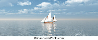Sailboat - Computer generated 3D illustration with a ...