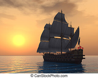 Sailing Ship - Computer generated 3D illustration with a ...