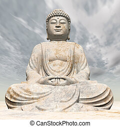 Computer generated 3D illustration with a Statue of Buddha
