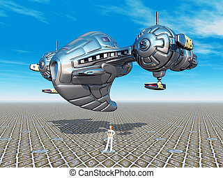 Alien Spacecraft - Computer generated 3D illustration with...