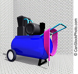 Air Compressor - Computer generated 3D illustration with an ...