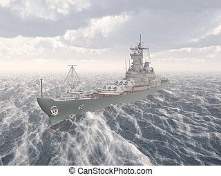 American battleship of World War II - Computer generated 3D ...