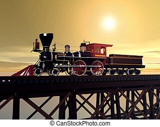 Steam Locomotive - Computer generated 3D illustration with...