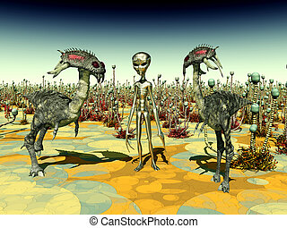 Computer generated 3D illustration with Extraterrestrial Life on another planet