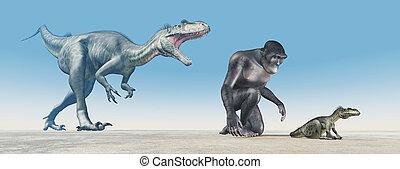 Homo habilis and baby dinosaur Megalosaurus