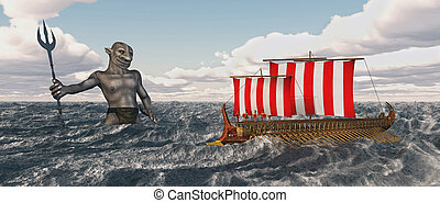 Odysseus and Poseidon - Computer generated 3D illustration...