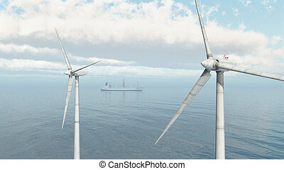 Offshore Wind Farm and Cargo Ship