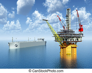 Computer generated 3D illustration with Oil Platform and Supertanker