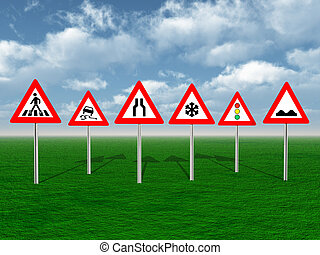 Road Signs - Computer generated 3D illustration with Road ...
