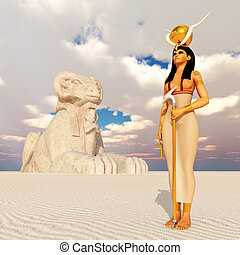 Sphinx and the goddess Hathor - Computer generated 3D...