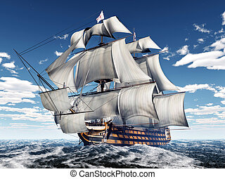 HMS Victory - Computer generated 3D illustration with the ...