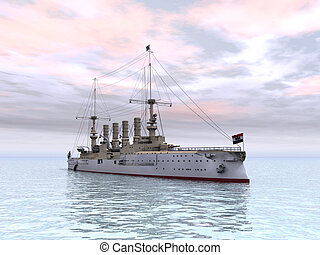 Computer generated 3D illustration with the Armored Cruiser SMS Scharnhorst from the first world war