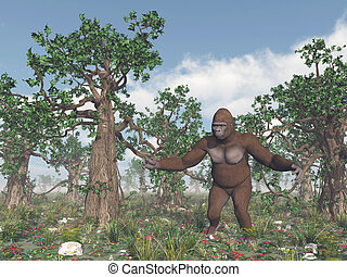 Bigfoot in the wild - Computer generated 3D illustration...
