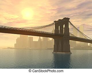 Brooklyn Bridge in New York - Computer generated 3D ...