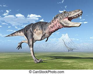 Dinosaur Tarbosaurus - Computer generated 3D illustration...