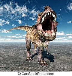 Computer generated 3D illustration with the Dinosaur Tyrannosaurus Rex