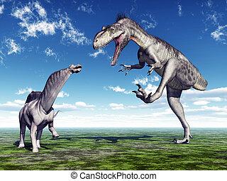 Amargasaurus and Megalosaurus