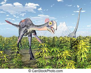 Gigantoraptor and Mamenchisaurus - Computer generated 3D...