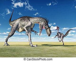Megalosaurus and Velociraptor