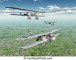 Computer generated 3D illustration with the German Heavy Bomber Gotha of World War I