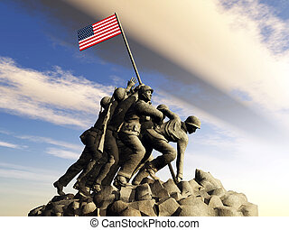 Iwo Jima War Memorial - Computer generated 3D illustration...
