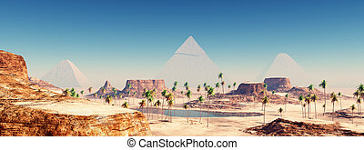 Pyramids of Giza - Computer generated 3D illustration with...