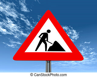 Warning Sign Road Works - Computer generated 3D illustration...