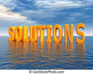 Solutions - Computer generated 3D illustration with the word...