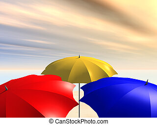 Parasols - Computer generated 3D illustration with three...