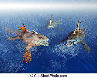 Sea Monsters - Computer generated 3D illustration with three...